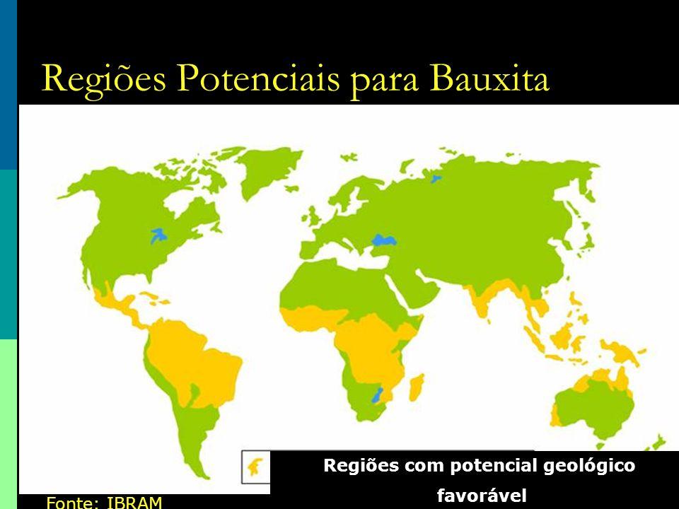 Regiões Potenciais para Bauxita