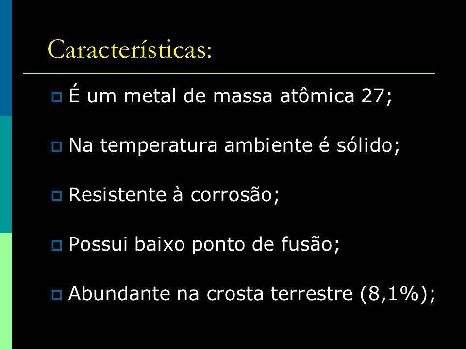 Características: É um metal de massa atômica 27;