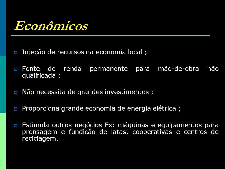 Econômicos Injeção de recursos na economia local ;