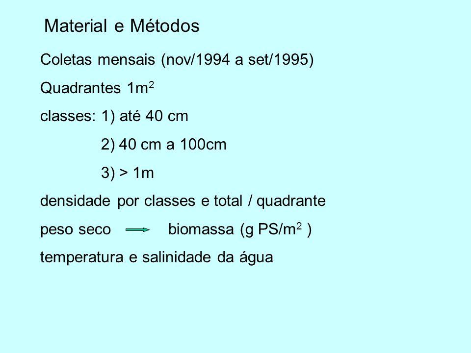Material e Métodos Coletas mensais (nov/1994 a set/1995)