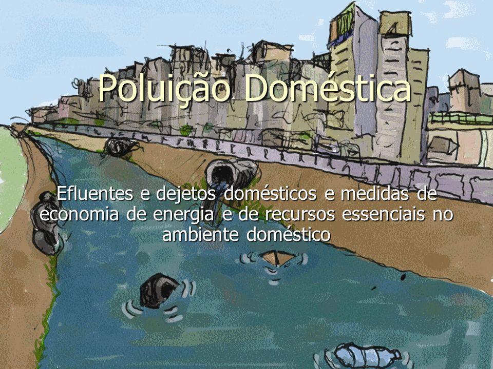 Poluição Doméstica Efluentes e dejetos domésticos e medidas de economia de energia e de recursos essenciais no ambiente doméstico.