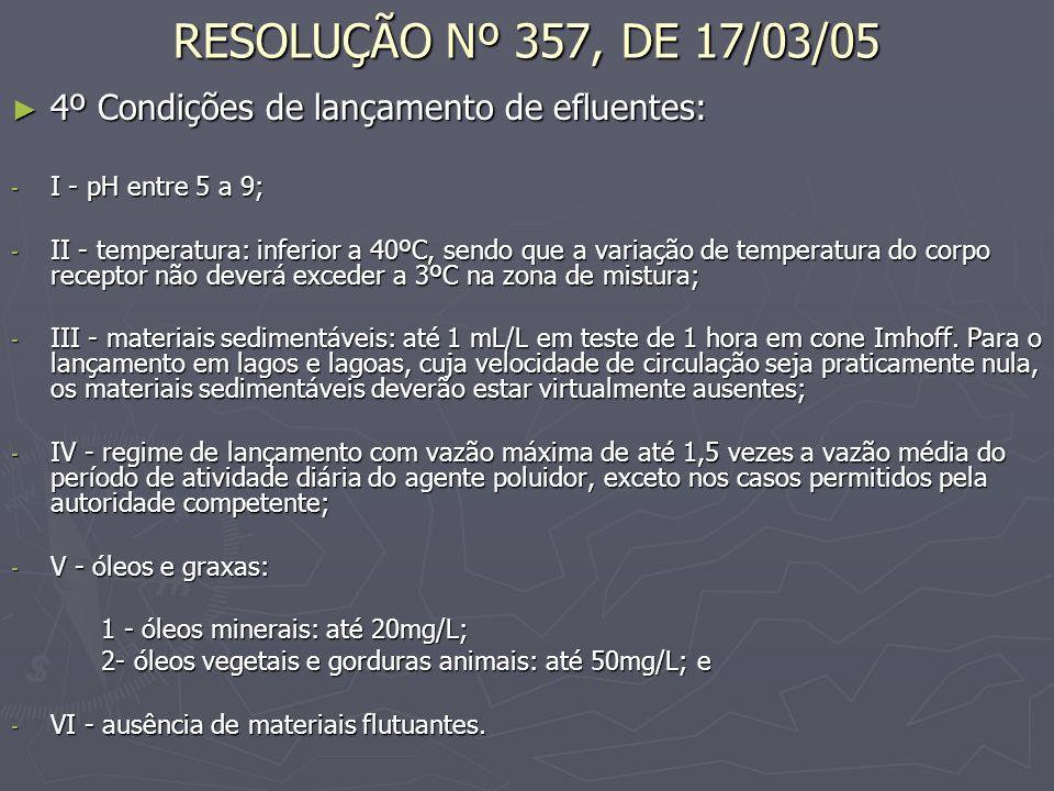 RESOLUÇÃO Nº 357, DE 17/03/05 4º Condições de lançamento de efluentes: