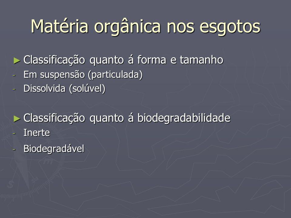 Matéria orgânica nos esgotos