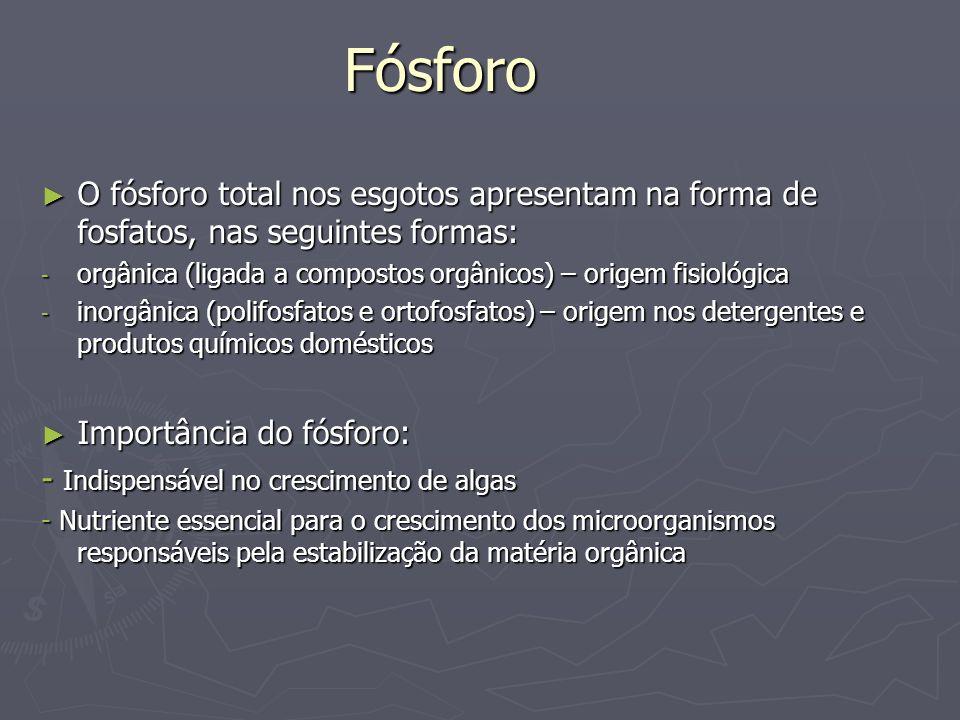 Fósforo O fósforo total nos esgotos apresentam na forma de fosfatos, nas seguintes formas: