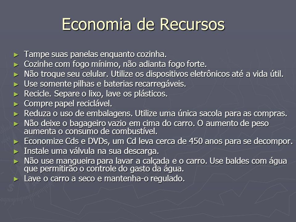 Economia de Recursos Tampe suas panelas enquanto cozinha.