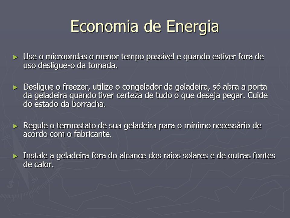 Economia de Energia Use o microondas o menor tempo possível e quando estiver fora de uso desligue-o da tomada.