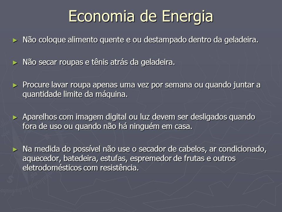 Economia de Energia Não coloque alimento quente e ou destampado dentro da geladeira. Não secar roupas e tênis atrás da geladeira.