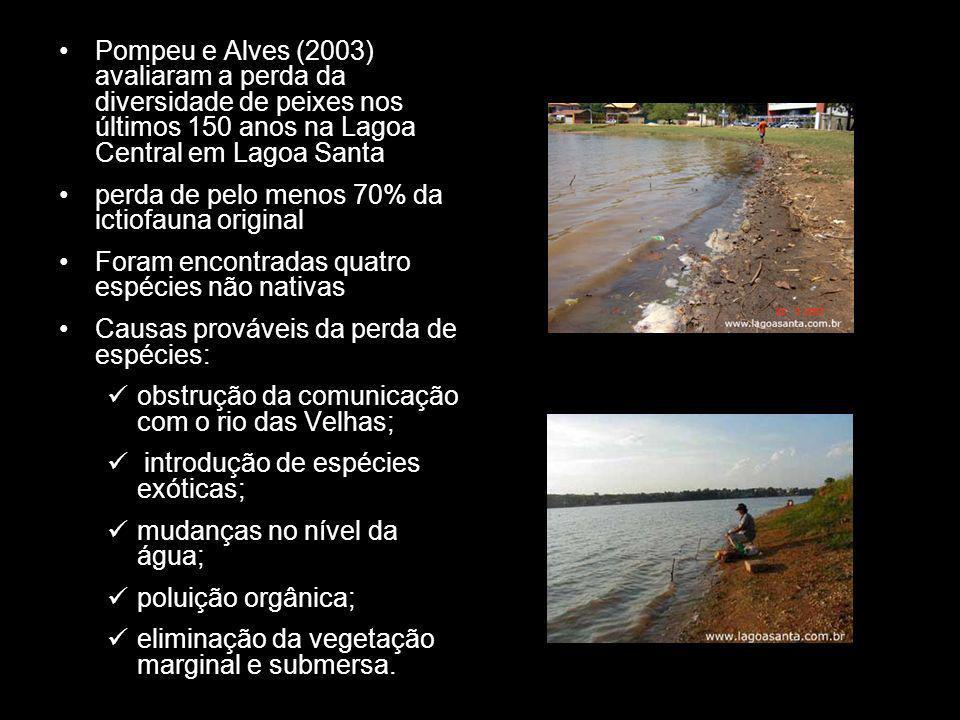 Pompeu e Alves (2003) avaliaram a perda da diversidade de peixes nos últimos 150 anos na Lagoa Central em Lagoa Santa