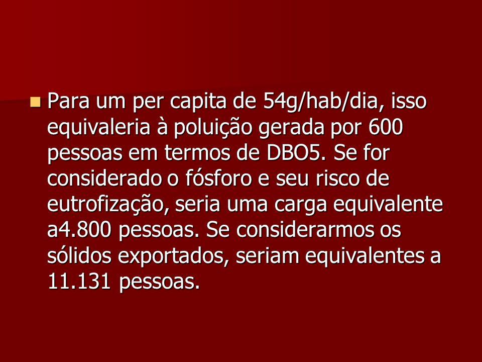 Para um per capita de 54g/hab/dia, isso equivaleria à poluição gerada por 600 pessoas em termos de DBO5.