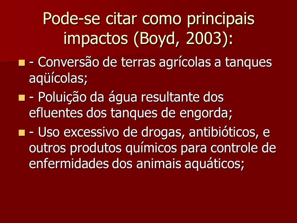 Pode-se citar como principais impactos (Boyd, 2003):