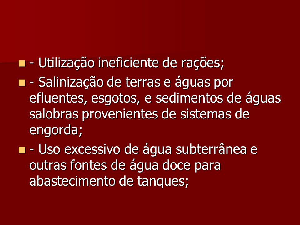 - Utilização ineficiente de rações;
