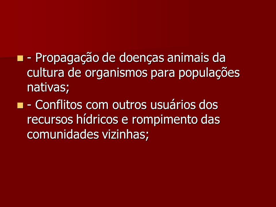 - Propagação de doenças animais da cultura de organismos para populações nativas;