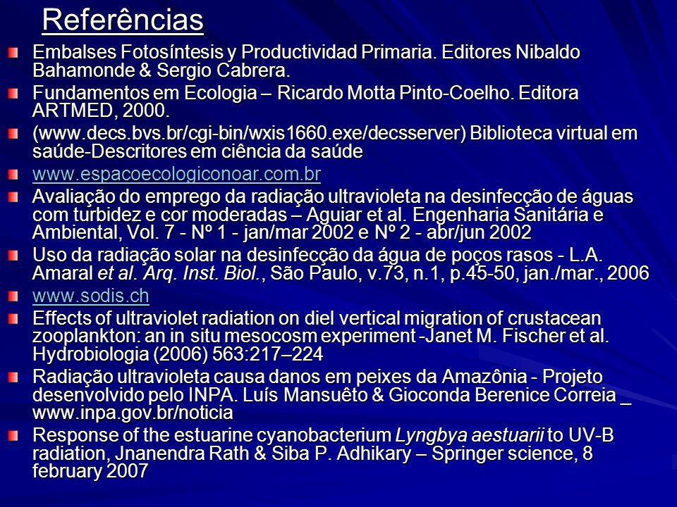 Referências Embalses Fotosíntesis y Productividad Primaria. Editores Nibaldo Bahamonde & Sergio Cabrera.