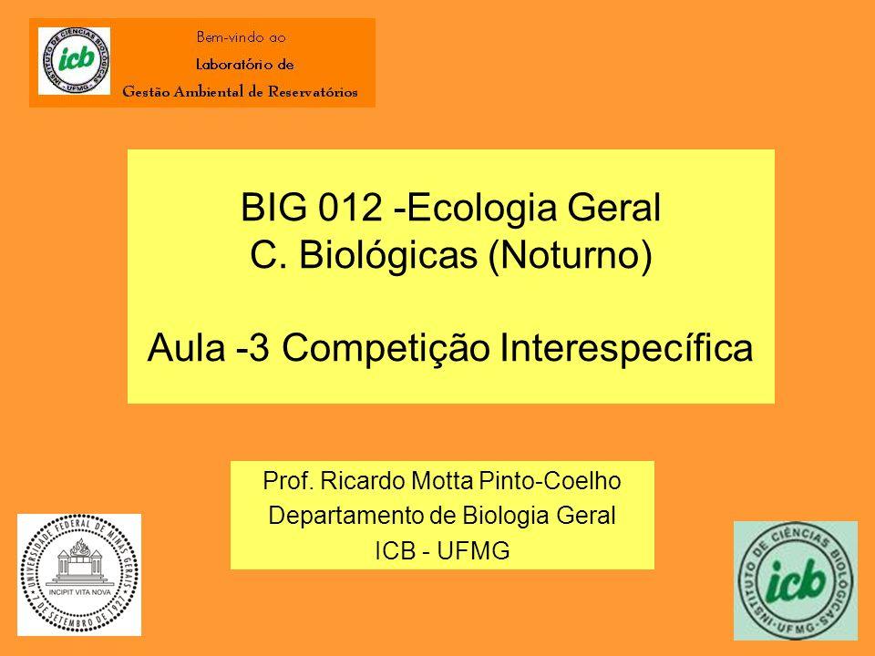 BIG 012 -Ecologia Geral C. Biológicas (Noturno) Aula -3 Competição Interespecífica