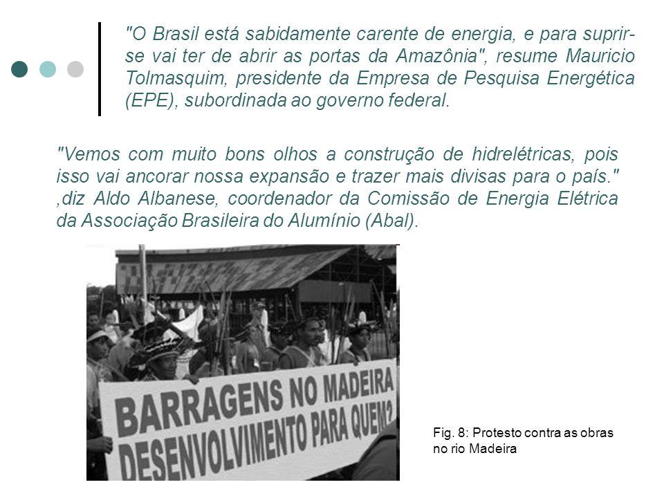 O Brasil está sabidamente carente de energia, e para suprir-se vai ter de abrir as portas da Amazônia , resume Mauricio Tolmasquim, presidente da Empresa de Pesquisa Energética (EPE), subordinada ao governo federal.