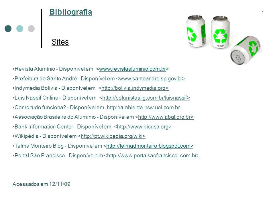 Bibliografia Sites. Revista Alumínio - Disponível em <www.revistaaluminio.com.br>