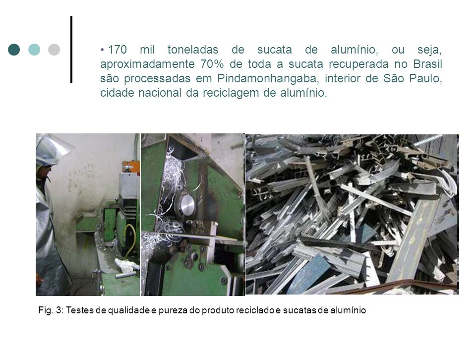 170 mil toneladas de sucata de alumínio, ou seja, aproximadamente 70% de toda a sucata recuperada no Brasil são processadas em Pindamonhangaba, interior de São Paulo, cidade nacional da reciclagem de alumínio.