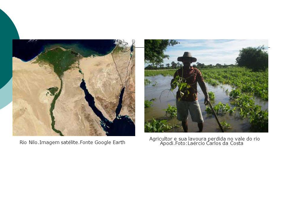 Agricultor e sua lavoura perdida no vale do rio Apodi