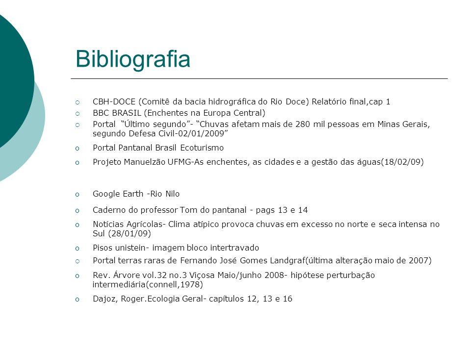 BibliografiaCBH-DOCE (Comitê da bacia hidrográfica do Rio Doce) Relatório final,cap 1. BBC BRASIL (Enchentes na Europa Central)