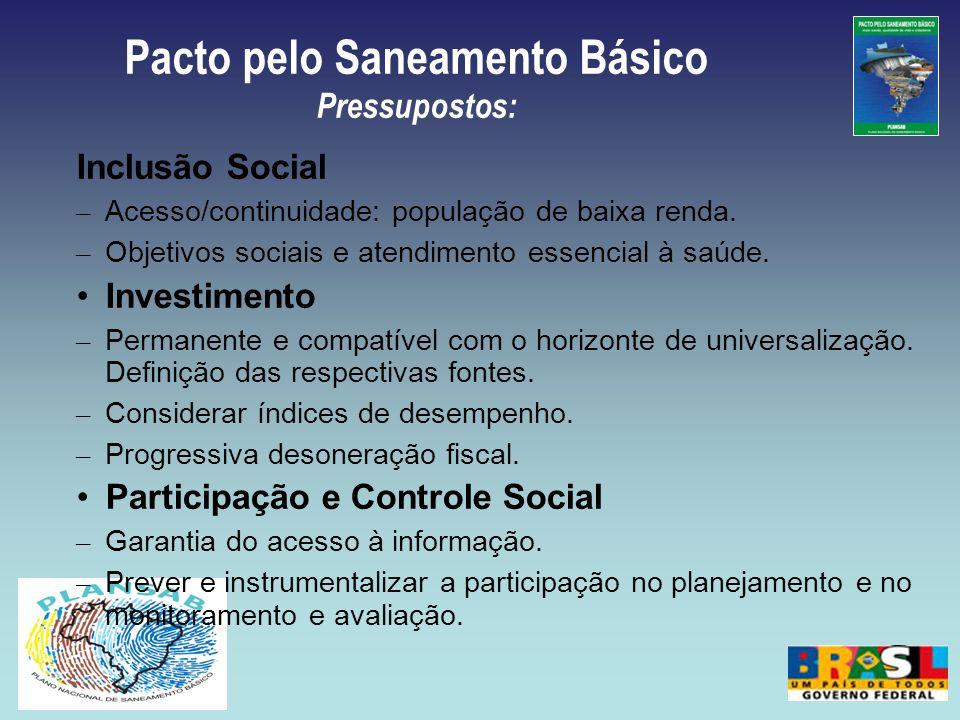 Pacto pelo Saneamento Básico Pressupostos:
