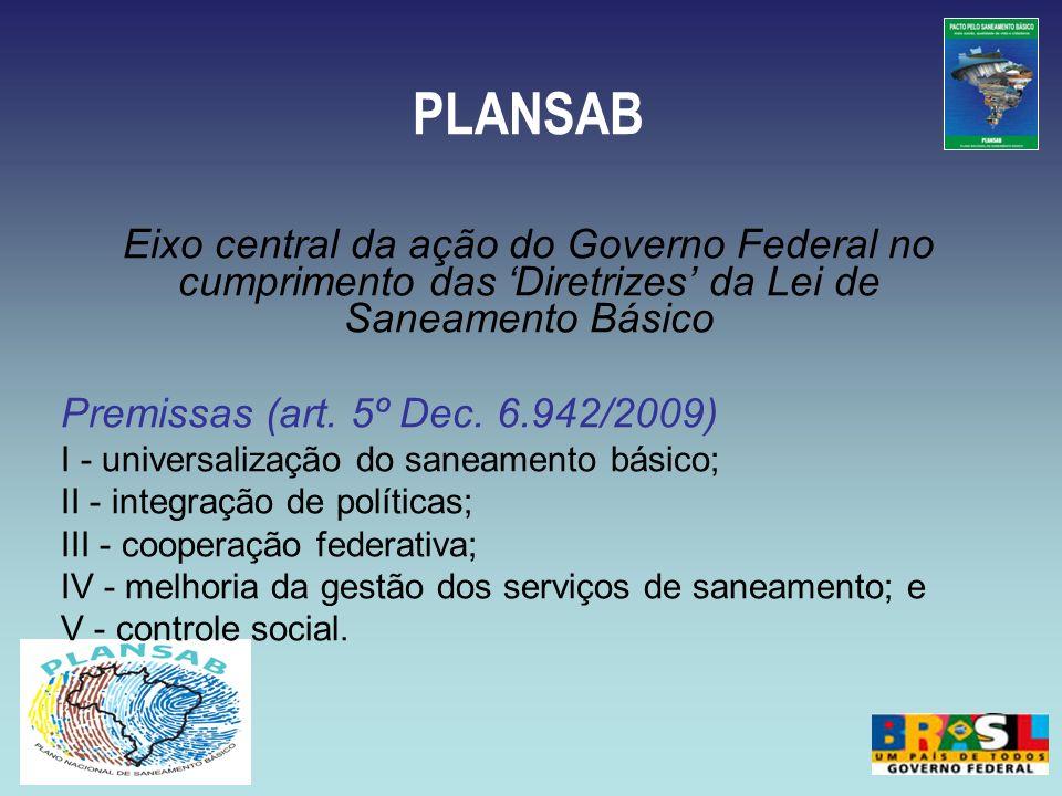PLANSABEixo central da ação do Governo Federal no cumprimento das 'Diretrizes' da Lei de Saneamento Básico.