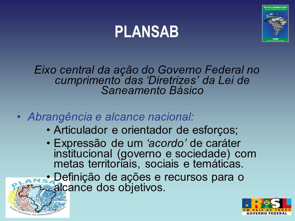 PLANSAB Eixo central da ação do Governo Federal no cumprimento das 'Diretrizes' da Lei de Saneamento Básico.