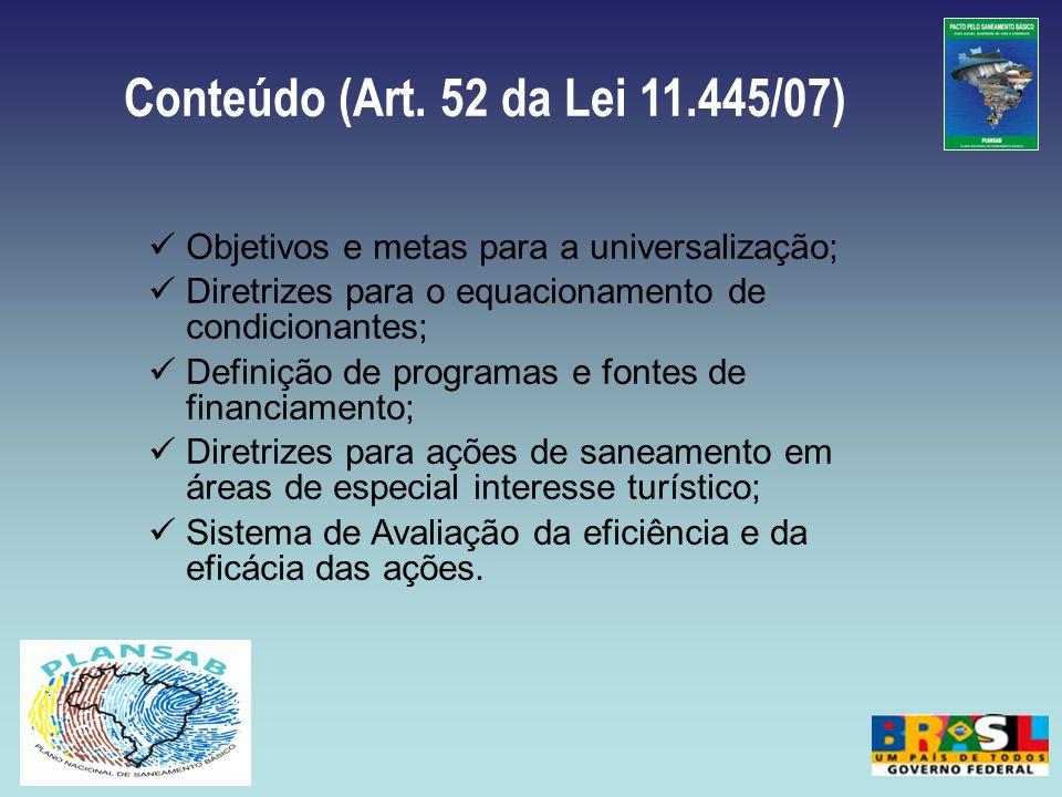 Conteúdo (Art. 52 da Lei 11.445/07) Objetivos e metas para a universalização; Diretrizes para o equacionamento de condicionantes;