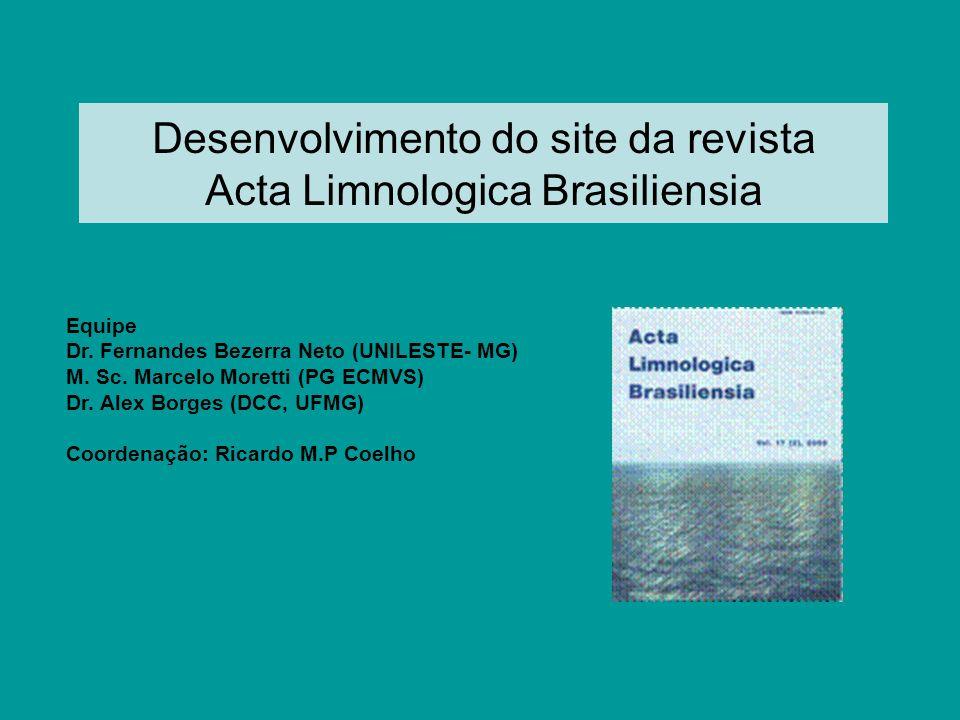Desenvolvimento do site da revista Acta Limnologica Brasiliensia