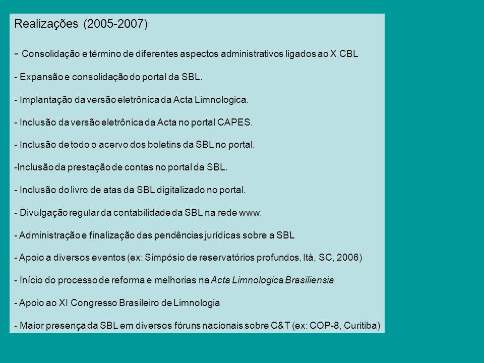 Realizações (2005-2007) Consolidação e término de diferentes aspectos administrativos ligados ao X CBL.