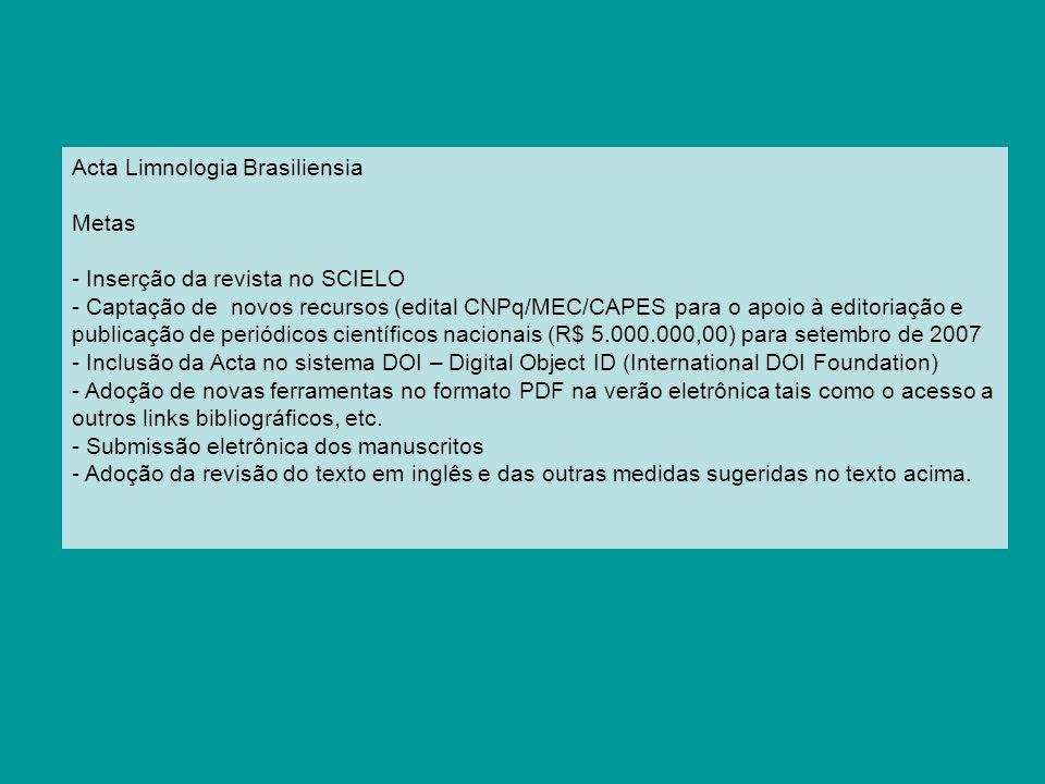 Acta Limnologia Brasiliensia
