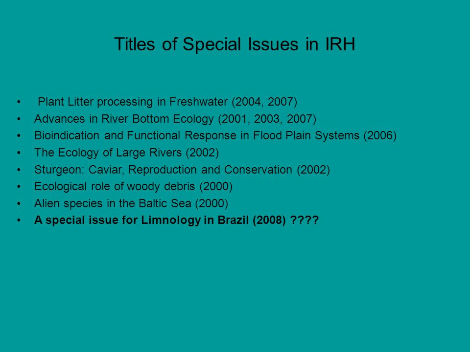 Titles of Special Issues in IRH