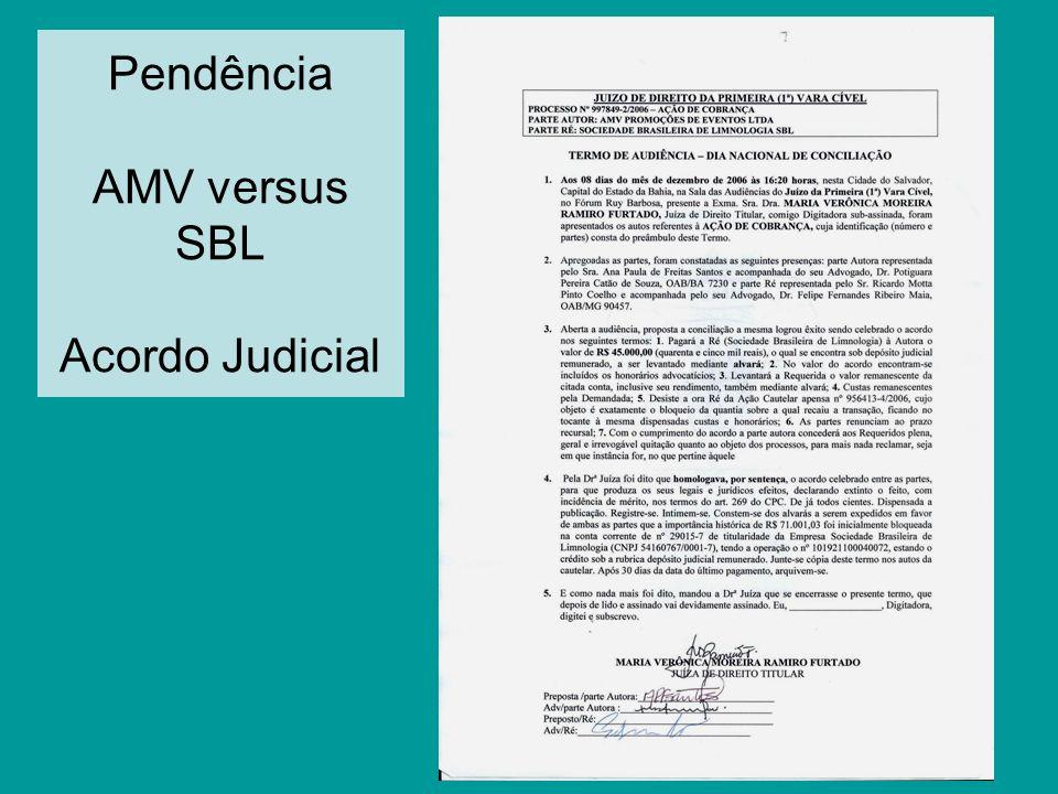 Pendência AMV versus SBL Acordo Judicial