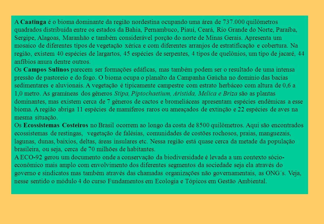 A Caatinga é o bioma dominante da região nordestina ocupando uma área de 737.000 quilômetros quadrados distribuída entre os estados da Bahia, Pernambuco, Piauí, Ceará, Rio Grande do Norte, Paraíba, Sergipe, Alagoas, Maranhão e também considerável porção do norte de Minas Gerais. Apresenta um mosaico de diferentes tipos de vegetação xérica e com diferentes arranjos de estratificação e cobertura. Na região, existem 40 espécies de largartos, 45 espécies de serpentes, 4 tipos de quelônios, um tipo de jacaré, 44 anfíbios anura dentre outros.