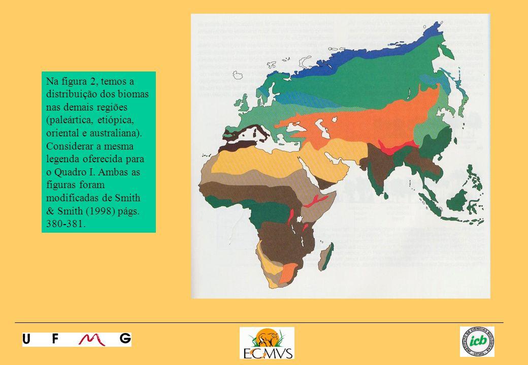 Na figura 2, temos a distribuição dos biomas nas demais regiões (paleártica, etiópica, oriental e australiana).