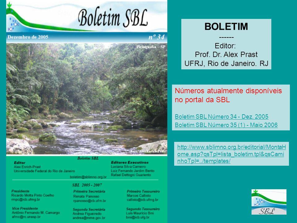 BOLETIM ------ Editor: Números atualmente disponíveis no portal da SBL