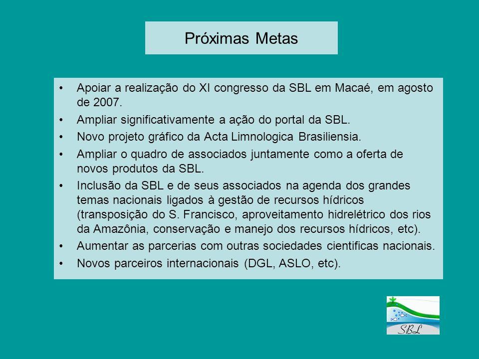 Próximas Metas Apoiar a realização do XI congresso da SBL em Macaé, em agosto de 2007. Ampliar significativamente a ação do portal da SBL.