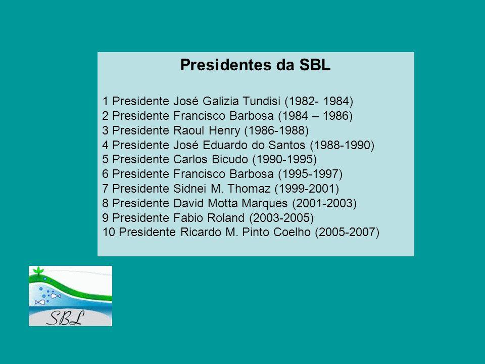 Presidentes da SBL 1 Presidente José Galizia Tundisi (1982- 1984)