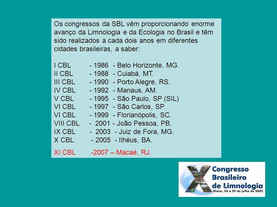 Os congressos da SBL vêm proporcionando enorme avanço da Limnologia e da Ecologia no Brasil e têm sido realizados a cada dois anos em diferentes cidades brasileiras, a saber: I CBL - 1986 - Belo Horizonte, MG. II CBL - 1988 - Cuiabá, MT. III CBL - 1990 - Porto Alegre, RS. IV CBL - 1992 - Manaus, AM. V CBL - 1995 - São Paulo, SP (SIL) VI CBL - 1997 - São Carlos, SP. VI CBL - 1999 - Florianópolis, SC. VIII CBL - 2001 - João Pessoa, PB. IX CBL - 2003 - Juiz de Fora, MG. X CBL - 2005 - Ilhéus, BA.
