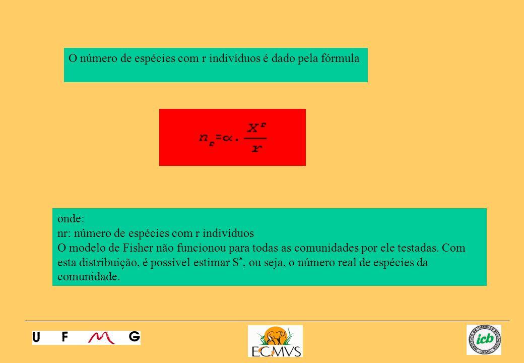 O número de espécies com r indivíduos é dado pela fórmula