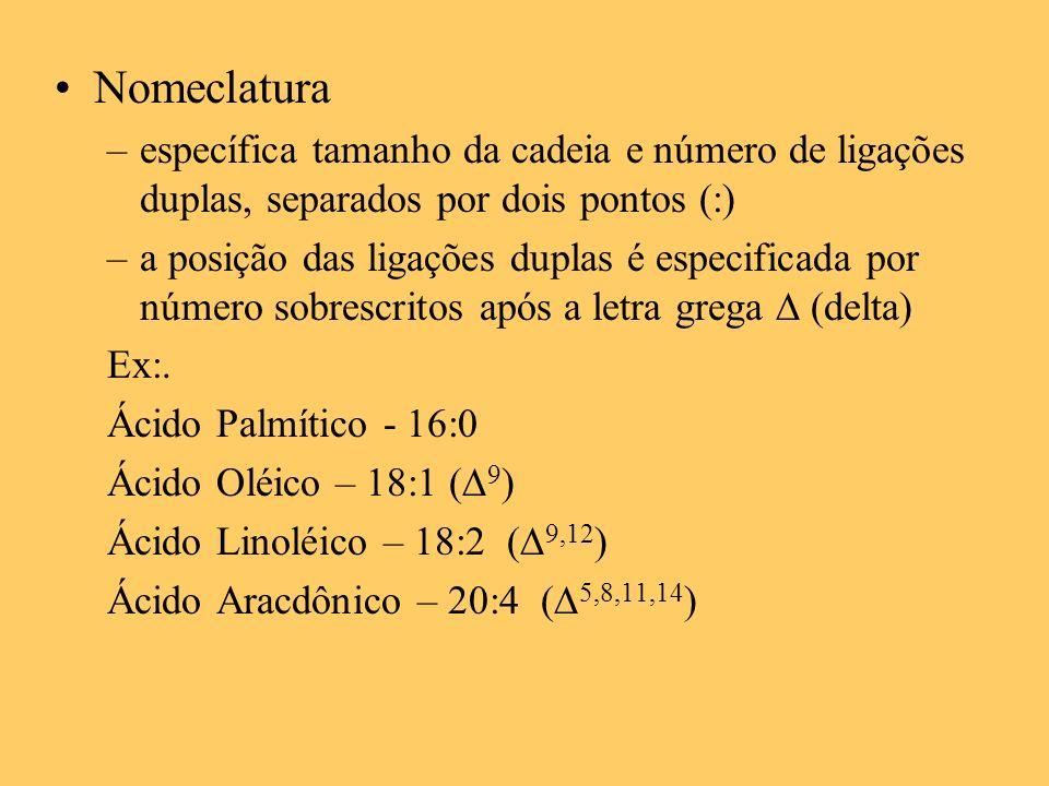 Nomeclatura específica tamanho da cadeia e número de ligações duplas, separados por dois pontos (:)