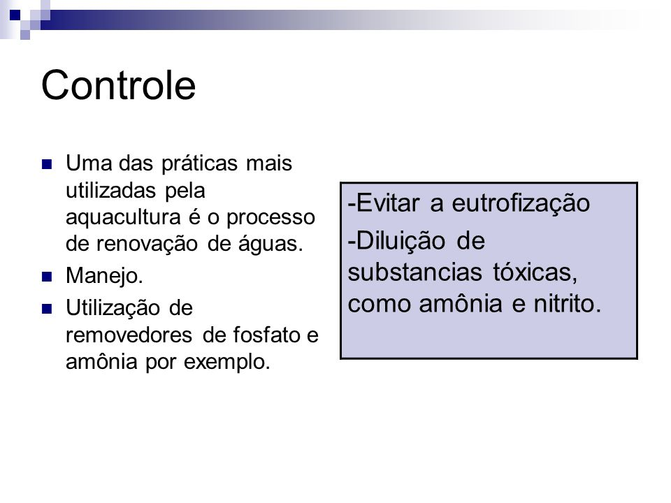 Controle -Evitar a eutrofização