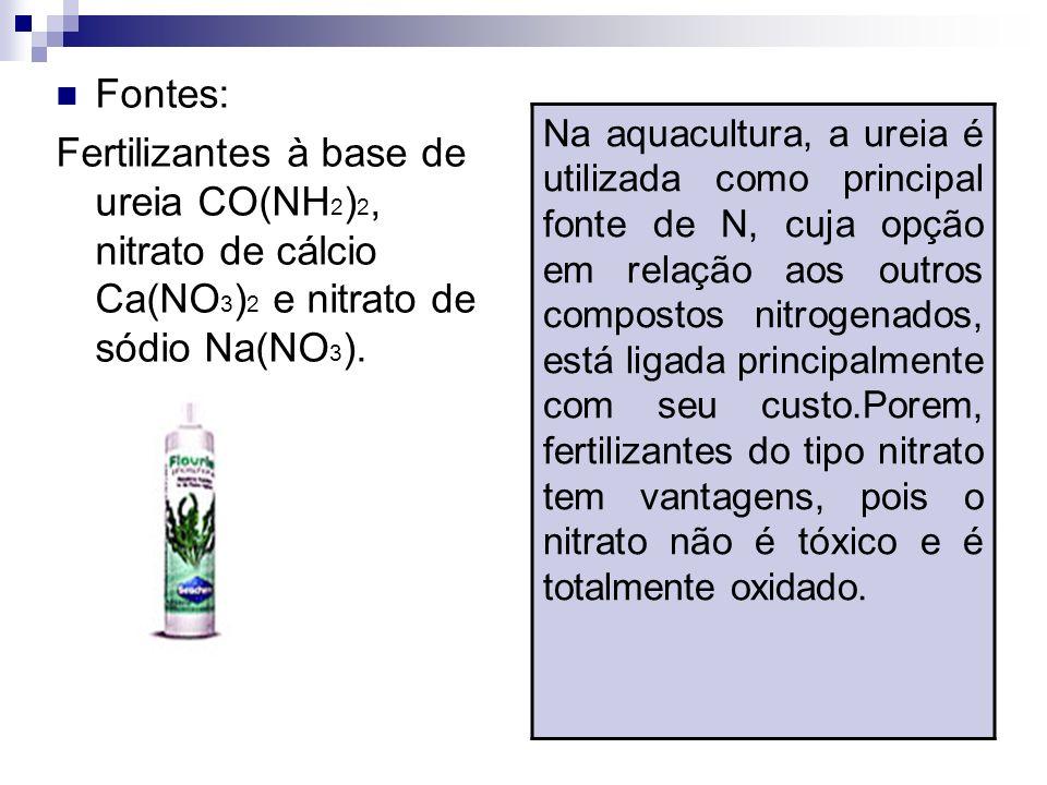 Fontes: Fertilizantes à base de ureia CO(NH2)2, nitrato de cálcio Ca(NO3)2 e nitrato de sódio Na(NO3).