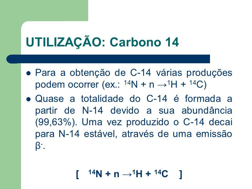 UTILIZAÇÃO: Carbono 14 Para a obtenção de C-14 várias produções podem ocorrer (ex.: 14N + n →1H + 14C)