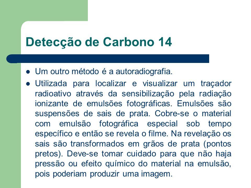 Detecção de Carbono 14 Um outro método é a autoradiografia.