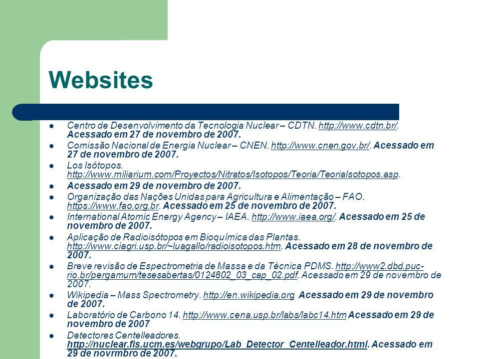 WebsitesCentro de Desenvolvimento da Tecnologia Nuclear – CDTN. http://www.cdtn.br/. Acessado em 27 de novembro de 2007.
