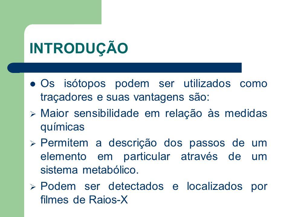 INTRODUÇÃO Os isótopos podem ser utilizados como traçadores e suas vantagens são: Maior sensibilidade em relação às medidas químicas.