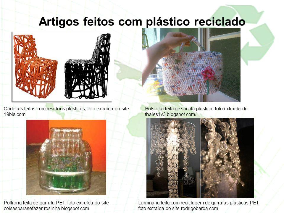 Artigos feitos com plástico reciclado
