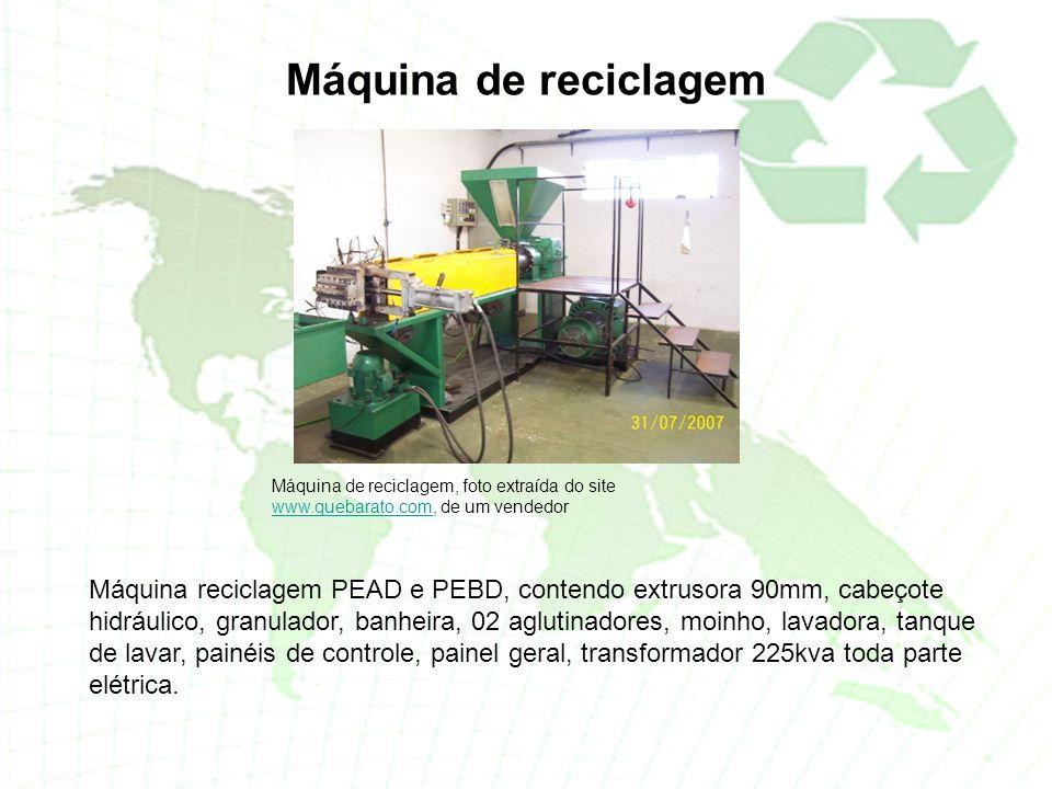 Máquina de reciclagem Máquina de reciclagem, foto extraída do site www.quebarato.com, de um vendedor.