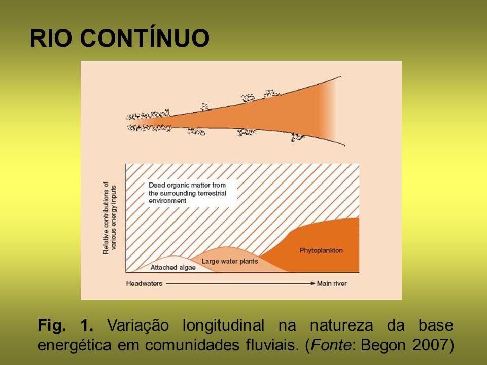 RIO CONTÍNUO Fig. 1. Variação longitudinal na natureza da base energética em comunidades fluviais.