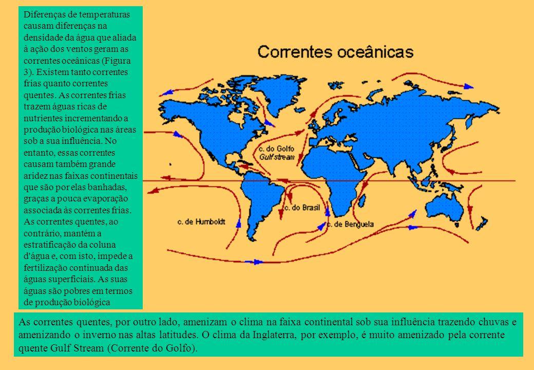 Diferenças de temperaturas causam diferenças na densidade da água que aliada à ação dos ventos geram as correntes oceânicas (Figura 3). Existem tanto correntes frias quanto correntes quentes. As correntes frias trazem águas ricas de nutrientes incrementando a produção biológica nas áreas sob a sua influência. No entanto, essas correntes causam também grande aridez nas faixas continentais que são por elas banhadas, graças a pouca evaporação associada às correntes frias. As correntes quentes, ao contrário, mantém a estratificação da coluna d água e, com isto, impede a fertilização continuada das águas superficiais. As suas águas são pobres em termos de produção biológica